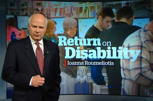 Screen-shot of Return on Disability on CBC with Peter Mansbridge